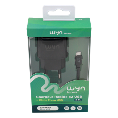 Chargeur rapide double + cable micro USB